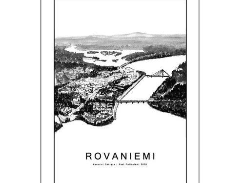 Vesivärimaalaus Rovaniemen kaupungista